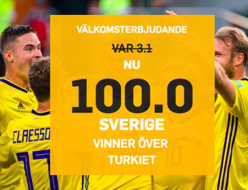 Superodds 17/11: Få 100.00 i odds på Sverige mot Turkiet!