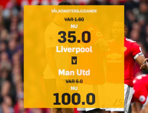 Superodds 16/12: Få otroliga 100.00 i odds på Manchester United!