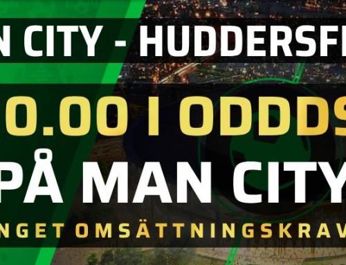 Superodds 19/8: Få 10.00 i odds på Man City mot Huddersfield – utan omsättningskrav!