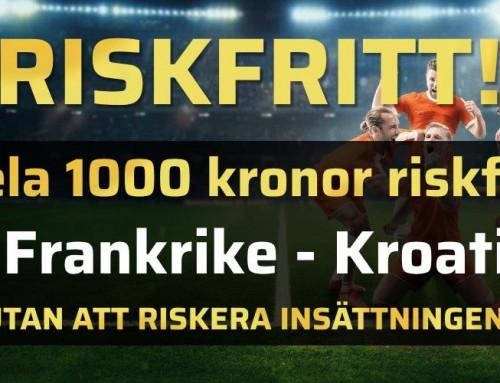 Riskfritt 15/7: Spela 1000 kr riskfritt på VM-finalen!