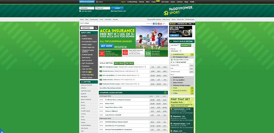 Paddypower-hemsida
