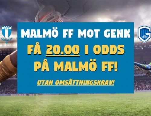 Superodds 20/9: Få hela 20.00 i odds på Malmö FF mot Genk – utan omsättningskrav!