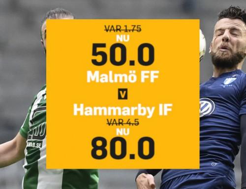 Superodds 20/10: Få 50.00 på Malmö FF eller 80.00 på Hammarby!