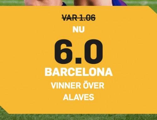 Superodds 18/8: Få 6.00 i odds på att Barcelona vinner mot Alves!