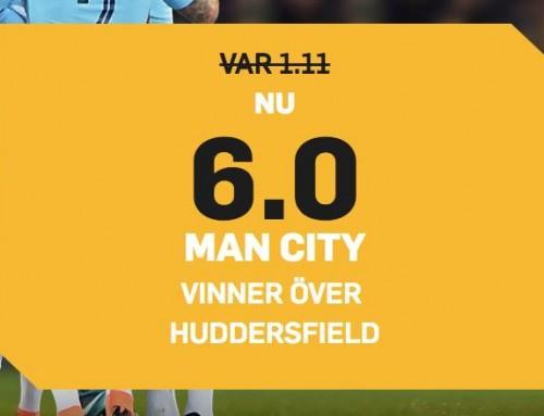 Superodds 19/8: Få 6.00 i odds på Man City mot Huddersfield!