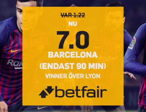 Superodds 13/3: Få 7.00 i odds på Barcelona mot Lyon!