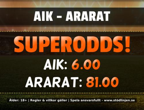 Superodds 17/7: Få 6.00 på AIK och 81.00 på Ararat!