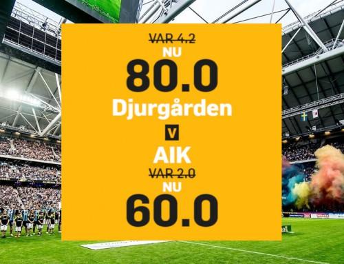 Superodds 21/10: Få 80.00 på Djurgården eller 60.00 på AIK!