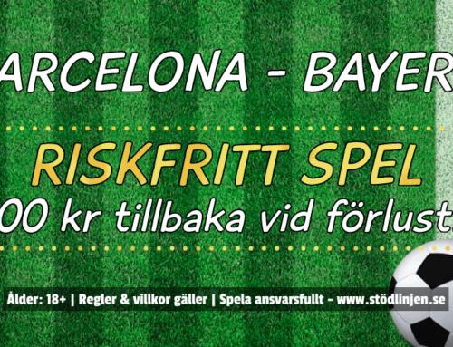 Riskfritt 14/9: 100 kr på Barcelona-Bayern München!