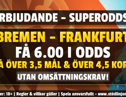 Superodds 3/6: Få hela 6.00 på Bremen-Leverkusen – utan omsättning!