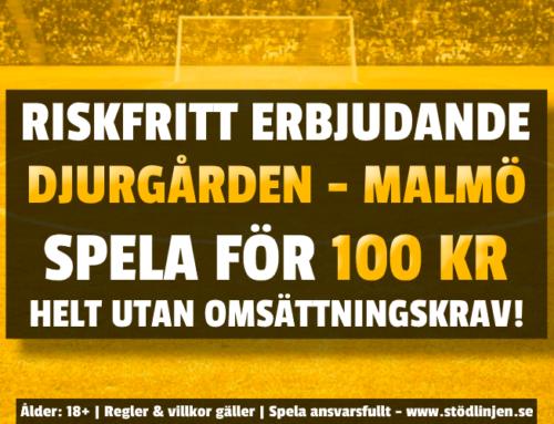 Riskfritt 19/10: 100 kr på Djurgården-Malmö – utan omsättning!
