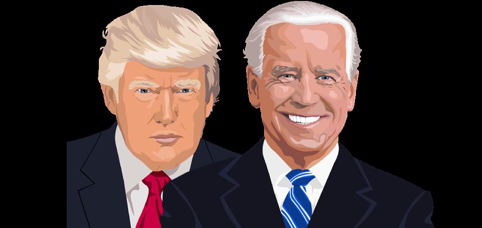 Donald Trump och Joe Biden, sida vid sida