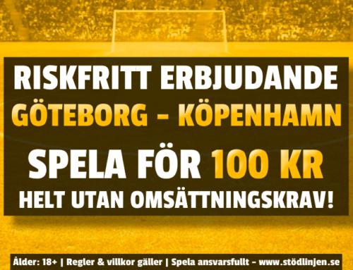 Riskfritt 17/9: 100 kr på Göteborg-Köpenhamn – utan omsättning!