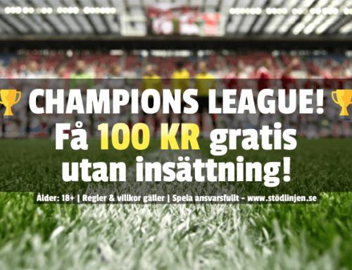Champions League 23/2: 100 kr att spela för – utan insättning!