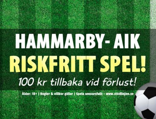 Riskfritt 17/10: 100 kr på Hammarby-AIK – utan omsättning!