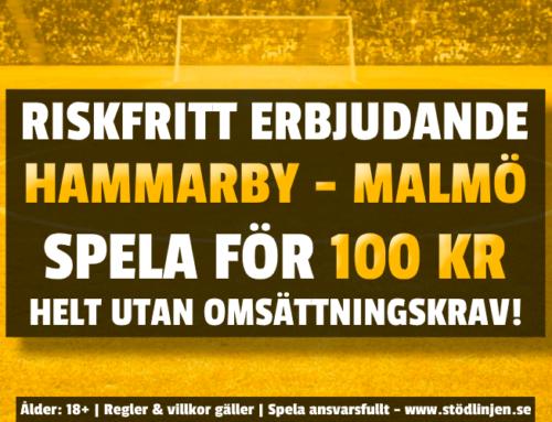 Riskfritt 22/11: 100 kr på Hammarby-Malmö – utan omsättning!