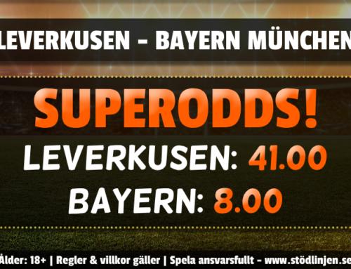 Superodds 6/6: Hela 8.00 i odds på Bayern Munchen!