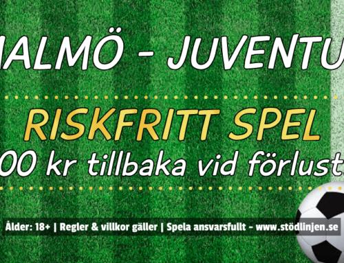 Riskfritt 14/9: 100 kr på Malmö-Juventus!