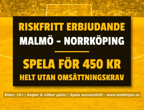 Riskfritt 15/9: Få 450 kr riskfritt på Malmö-Norrköping – utan omsättningskrav!
