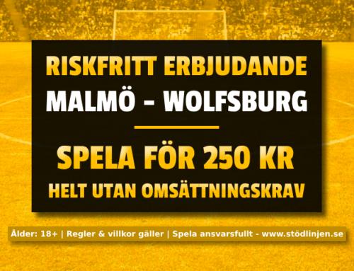 Riskfritt 27/2: 250 kr på Malmö-Wolfsburg – utan omsättning!
