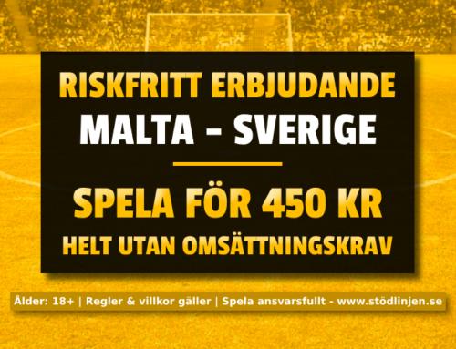 Riskfritt 12/10: 450 kr på Sverige-Malta – utan omsättning!