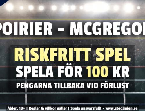 Riskfritt 24/1: 100 kr på Poirier-McGregor – utan omsättning!