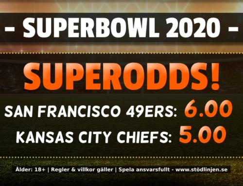 Superodds 3/2: 6.00 på 49ers och 5.00 på Chiefs!
