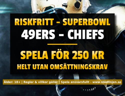Riskfritt 3/2: 250 kr på 49ers-Chiefs – utan omsättning!