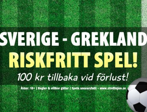 Riskfritt 12/10: 100 kr på Sverige-Grekland – utan omsättning!