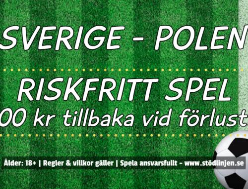 Riskfritt 23/6: 100 kr på Sverige-Polen – utan omsättning!