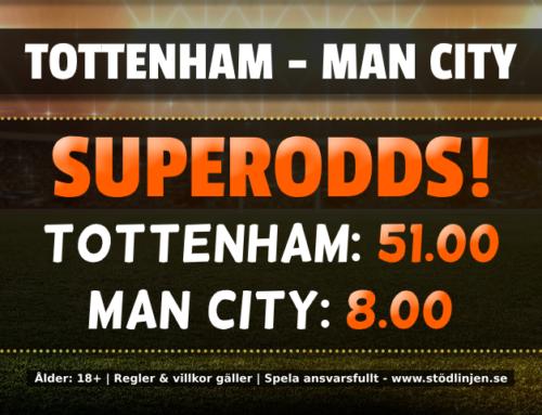 Superodds 2/2: 51.00 på Tottenham eller 8.00 på Man City!
