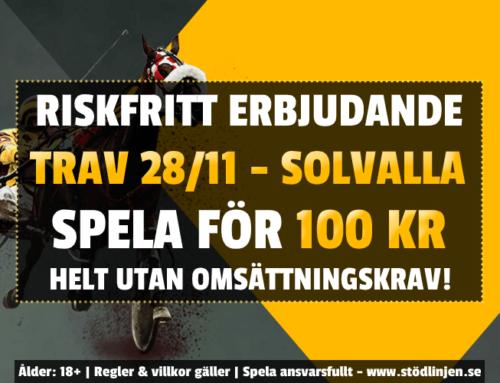 Riskfritt 28/11: 100 kr på trav – utan omsättning!