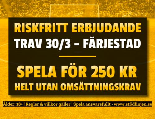 Riskfritt 30/3: 250 kr på V64 – utan omsättning!