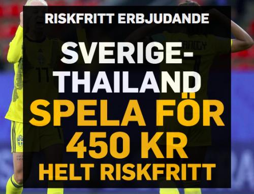 Riskfritt 16/6: 450 kr riskfritt på Sverige – Thailand – utan omsättningskrav!